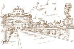 Castel Santangelo hand draw. Rome Royalty Free Stock Photography