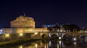 Castel Santangelo by night, Rome. Night view of Castel Sant'Angelo and Ponte Sant'Angelo in Rome, Italy Royalty Free Stock Image