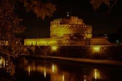 Castel Santangelo przy nocą, Rzym, Włochy Zdjęcia Stock