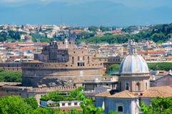 Castel Santangelo, Roma, panorama od Gianicolo, Włochy Zdjęcia Stock