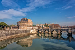 Castel SantAngelo, Rome, Italy. Castel SantAngelo (Castle of the Holy Angel) is a towering cylindrical building in Parco Adriano, Rome, Italy. It was initially Stock Photo