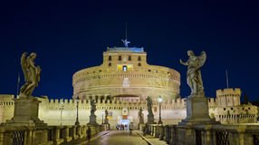 Castel Santangelo, Rome. Castel Sant'Angelo seen from the bridge, by night, Rome, Italy. It was initially commissioned by the Roman Emperor Hadrian as a Royalty Free Stock Photo