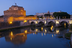 Castel St. Angelo from the River Tiber Stock Photo