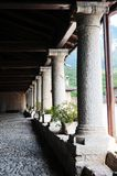 Castel thun, Castel thun, an arcade made of stone and wood Royalty Free Stock Image