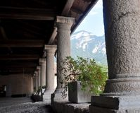 Castel thun, Castel thun, an arcade made of stone and wood Stock Image