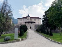 Castel Thun in the province of Trento in Trentino Alto Adige. Castel Thun is a monumental building of medieval origin, one of the best preserved in Trentino and stock photo