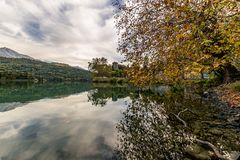 Castle at the lake. Castel Toblino, Trentino Italy in autumn stock images