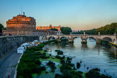 Castel und Brücke Sant'Angelo, Rom, Italien Stockfotografie