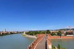 Castel Vecchio Bridge (Scaliger Bridge) in Verona, Italy Royalty Free Stock Image