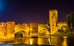 The Castel Vecchio Bridge in Verona Stock Photography