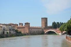 Castel Vecchio met de brug, Verona Royalty-vrije Stock Foto's