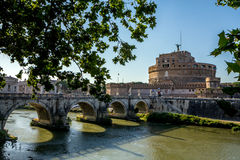 Castel y puente Sant'Angelo, Roma, Italia Fotografía de archivo libre de regalías