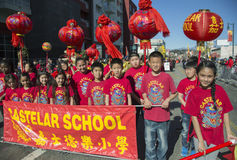 Castelar School sign, 115th Golden Dragon Parade, Chinese New Year, 2014, Year of the Horse, Los Angeles, California, USA Stock Photography
