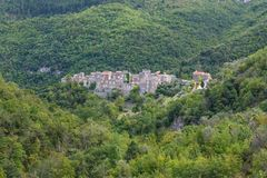 Castelbianco. Seen from the hills.  is an unique village in Liguria, Italy stock photos