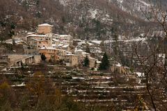 Castelbianco. Seen from the hills.  is an unique village in Liguria, Italy royalty free stock photo