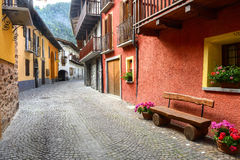Casteldelfino (Cuneo). Casteldelfino (Cuneo, Val Varaita, Piedmont, Italy), typical mountain village at summer Stock Photography