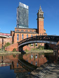 Castelefield in Manchester. Castlefield, an inner city conservation area  in Manchester , England. The Beetham Tower, Manchesters tallest building, can be seen Stock Photography