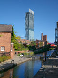 Castelefield in Manchester. Castlefield, an inner city conservation area in Manchester ,North West England. Beetham Tower, Manchesters tallest building, can be royalty free stock image