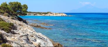 Aegean sea coast (Chalkidiki, Greece). Aegean sea coast landscape, view near Karidi beach (Chalkidiki, Greece&#x29 Royalty Free Stock Photography