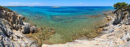 Aegean sea coast (Chalkidiki, Greece). Aegean sea coast landscape, view near Karidi beach (Chalkidiki, Greece). Three shots stitch Royalty Free Stock Photography