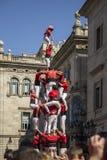 Castelers i Barcelona Arkivbilder