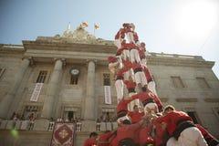 Castelers på La Merce Royaltyfri Fotografi