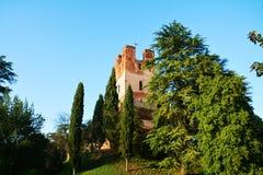 Castelfranco Vénétie, tour médiévale et arbres Photos libres de droits