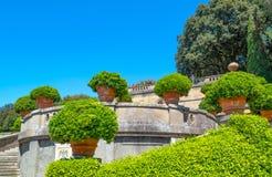 Castelgandolfo, the Papal palace. Castelgandolfo, Italy - April 21, 2017: The gardens of the Apostolic palace, summer residence of the Popes stock image