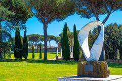 Castelgandolfo, the Papal palace. Castelgandolfo, Italy - April 21, 2017: A modern sculpture by Junkyu Moto in the gardens of the Apostolic palace, summer stock image