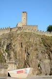 Castelgrande. BELLINZONA, SWITZERLAND - July 4, 2014: The Torre Bianca (White tower) of the Castelgrande in Bellinzona, Switzerland. A UNESCO World Heritage Site Stock Photo