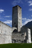 Castelgrande castle in Bellinzona. Bellinzona's castles are considered amongst the finest examples of medieval fortification architecture in Switzerland Stock Photo