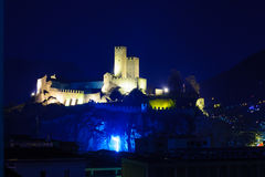 Castelgrande castle, in Bellinzona. Night view of the Castelgrande castle, in Bellinzona, Ticino, Switzerland Royalty Free Stock Photography