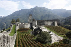 Castelgrande castle in Bellinzona set in alps Stock Image
