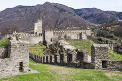 Castelgrande castle at Bellinzona on the Swiss alps. Unesco world heritage Royalty Free Stock Images