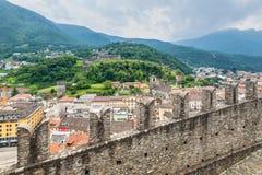 Castelgrande castle in Bellinzona, Switzerland. Bellinzona, Switzerland - May 28, 2016: Montebello Castle and surrounding cityscpae view from Castelgrande castle Stock Images