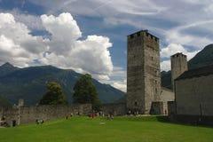 Castelgrande castle in Bellinzona, Ticino, Switzerland. View of courtyard of the Castelgrande castle in Bellinzona, Ticino, Switzerland Stock Photos