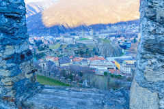 Castelgrande castle, in Bellinzona. View of the Castelgrande castle, in Bellinzona, Ticino, Switzerland Stock Photo