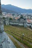Castelgrande castle, in Bellinzona. View of the Castelgrande castle walls and vineyards, and the city center, in Bellinzona, Ticino, Switzerland Stock Image