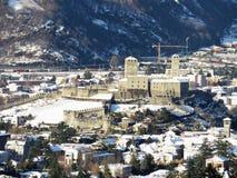 Castelgrande dopo il giorno di nevicata Fotografia Stock Libera da Diritti