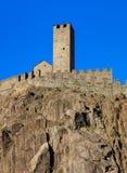 Castelgrande fortress in Bellinzona, Switzerland. Part of medieval Castelgrande fortress in Bellinzona, Switzerland. The fortress is a UNESCO World Heritage Site Stock Photo