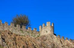 Castelgrande fortress in Bellinzona, Switzerland. Part of medieval Castelgrande fortress in Bellinzona, Switzerland. The fortress is a UNESCO World Heritage Site Stock Images