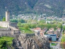 Castelgrande from other castle. Castelgrande and surrounding cityscpae view from Castello di Montebello in Bellinzona, Switzerland Royalty Free Stock Images