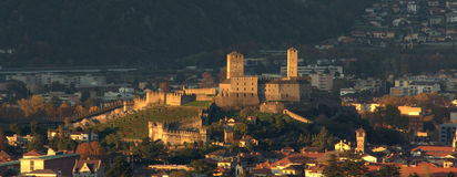 Castelgrande with sunset light. Bellinzona, Switzerland. Castelgrande with light of the sunset and it looks wonderful Stock Images
