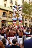 Castell - ανθρώπινη πυραμίδα στη Βαρκελώνη Στοκ Εικόνα
