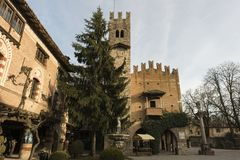 Castell`Arquato, medieval town. Castell`Arquato, an amazing medieval and artistic village close to Piacenza city, Italy royalty free stock image