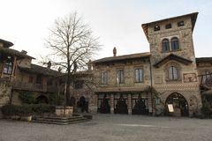 Castell`Arquato, medieval town. Castell`Arquato, an amazing medieval and artistic village close to Piacenza city, Italy royalty free stock photography
