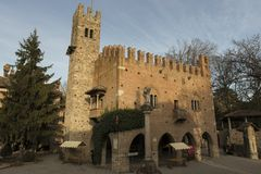 Castell`Arquato, medieval town. Castell`Arquato, an amazing medieval and artistic village close to Piacenza city, Italy stock images