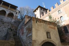 Castell`Arquato, medieval town. Castell`Arquato, a medieval and artistic village at Plasencia hills, Italy royalty free stock photos