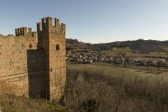 Castell`Arquato, medieval town. Castell`Arquato, a medieval and artistic village at Plasencia hills, Italy royalty free stock image