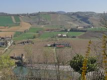 Castell`Arquato panorama. Panorama on the countryside from Visconti Castle in Castell`Arquato royalty free stock image